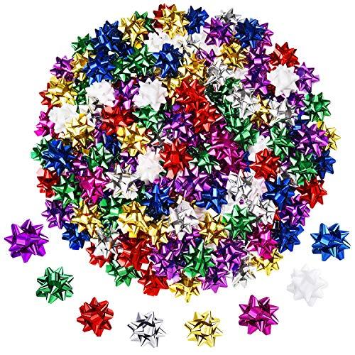 Tatuo 320 Stücke Mini Geschenk Bögen Weihnachten Metallic Wrap Bögen Selbstklebende Geschenke Bögen für Urlaub Weihnachten Geburtstag Mitbringsel, 8 Farben