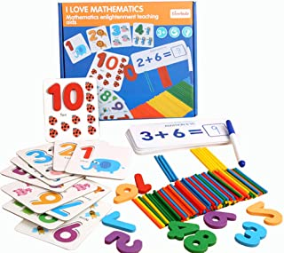 AOLIGE Math Flash Cards Games with Counters for Kids Ages 4-8 Montessori Math Materials for Preschool Number Matching Puzz...