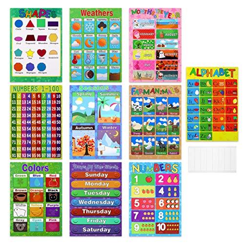 TOYANDONA 10 Stück pädagogische Vorschule Poster für Kinder Klassenzimmer Dekoration Poster Enthält Alphabet Zahlen Formen Farben Wetter Monat Jahreszeiten Tier Datum Poster