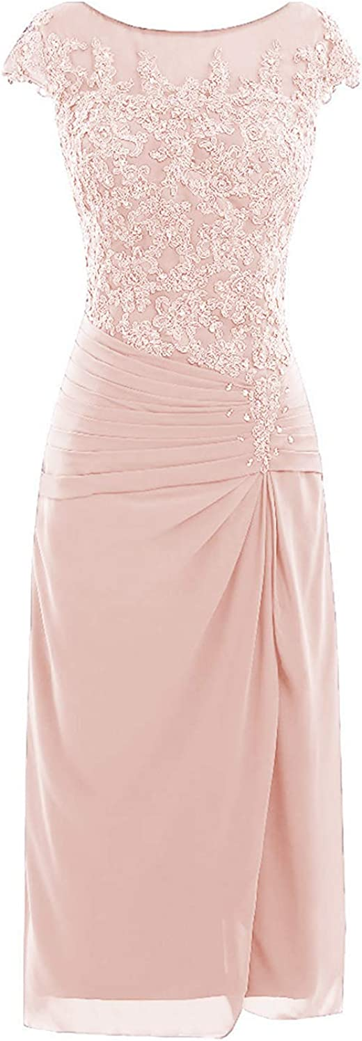 Knee Length Mother of The Bride Dresses with Cap Sleeves Lace Applique Formal Wedding Guest Dress B077