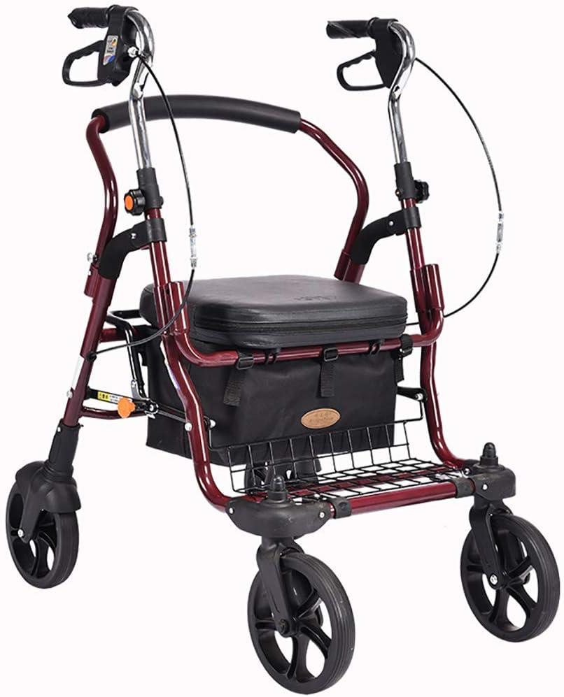 Bastidores para caminar para personas mayores, andador con andador médico bariátrico de servicio pesado con asiento y 4 ruedas, con asiento grande para personas mayores, ruedas de 8 pulgadas, canasta