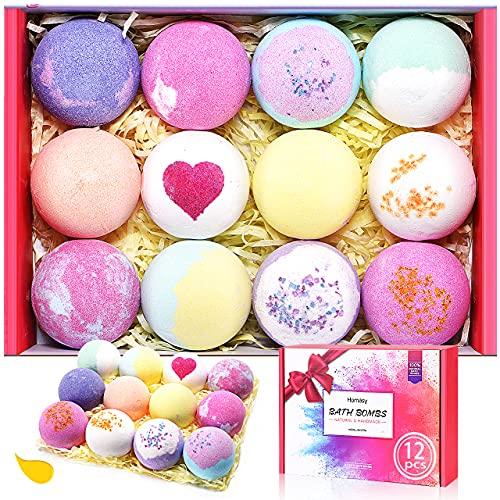 Bath Bombs, 12 Pcs Handmade Bubble Bath Bombs Gift Set, Rich in Essential Oils, Shea Butter & Sea...
