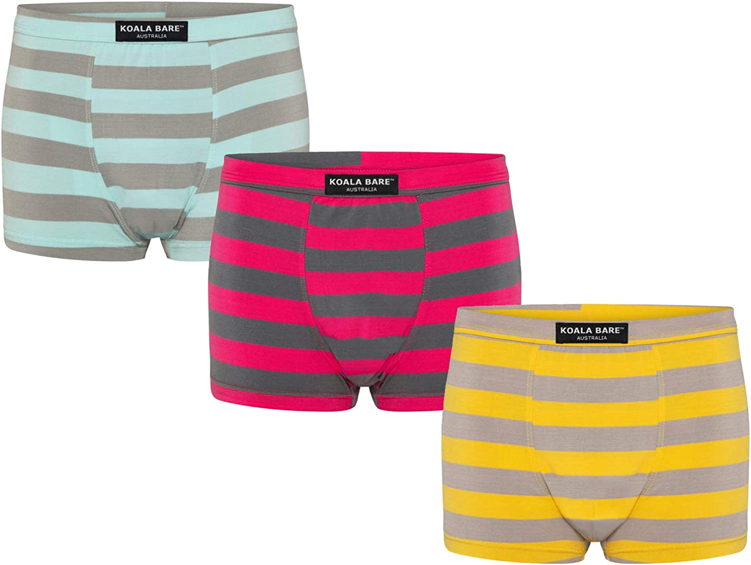 KOALA BARE Boys Bamboo Underwear 3-Pack - 3-10Y Multicolored Soft Comfortable Boxer Briefs, Breathable, Stylish, No Fly