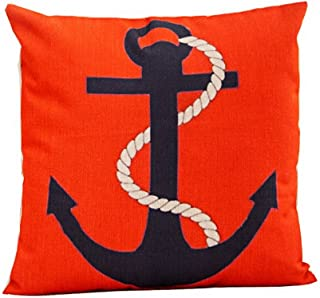 Red Cotton Linen Throw Pillow Cover Marine Life Series Blace Anchors Oil Painting Home Decorative Pillowcase Cushion Cover