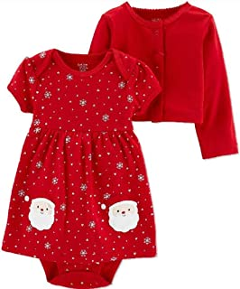 Just One You Baby Girls' Santa Dress 2pc Set Made by Carter's Red