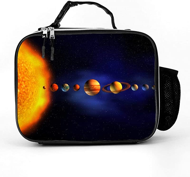 Solar System Planets Arround Sun Universe Space Lunch Box With Padded Liner Spacious Insulated Lunch Bag Durable Thermal Lunch Cooler Pack For Boys Men Women Girls Adults