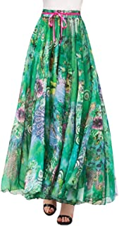 Falda Larga Mujer Maxi Bohemia Playa Vacaciones Gasa con Estampado Floral Talla Grande Cintura Elástica