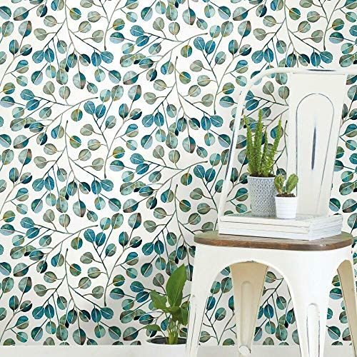 RoomMates RMK11628WP Cat Coquillette Eucalyptus Teal and White Peel and Stick Wallpaper