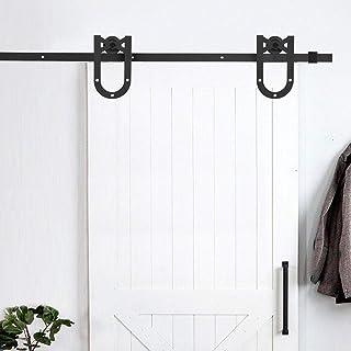 Wood Door Hardware Door Interior Kitchen Industrial Wheel Sliding Barn Sliding Door Hardware, Single Door Closet Door Hard...