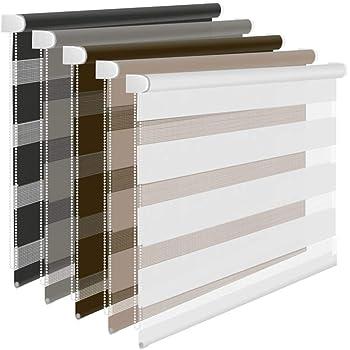 Doppelrollo beige 80x150cm Duo Rollo Klemmrollo für Fenster//Tür Seitenzugerollo