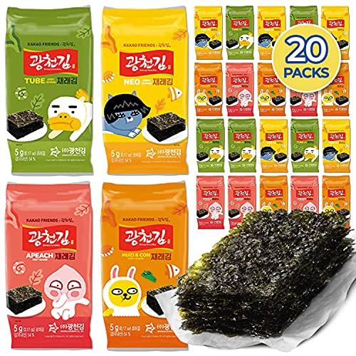 Kwangcheonkim Seasoned Seaweed Sheets Snacks – Kakao Friends 20 Individual Packs Premium Natural Roasted Laver Kim Nori 5g Net 100 grams 김 のり 海苔 紫菜