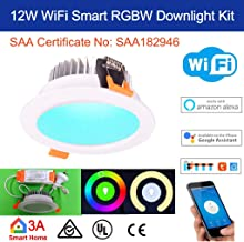 12W WiFi RGBW Smart LED Down Light Kit for Home Automation Alexa Google Home Voice Home Control …