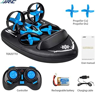 DishyKooker J-JRC H36F Mini Drone Terzetto 3 in 1 Water GroundAir Mode 3-Mode Altitude Hold Headless Mode RC Quadcopter Gift for Kids 3 Battery