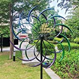 MKIU Solar Wind Spinner Willow Leaves, Iron Wind Sculpture Spinner, Dual Direction for Patio Lawn & Garden Weatherproof and Easy to Install Metallic Wind 61 X 213 cm