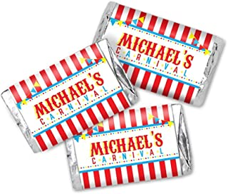 Carnival Red and White Stripes Candy Bar Wrapper Labels - 54 Total Candy Stickers