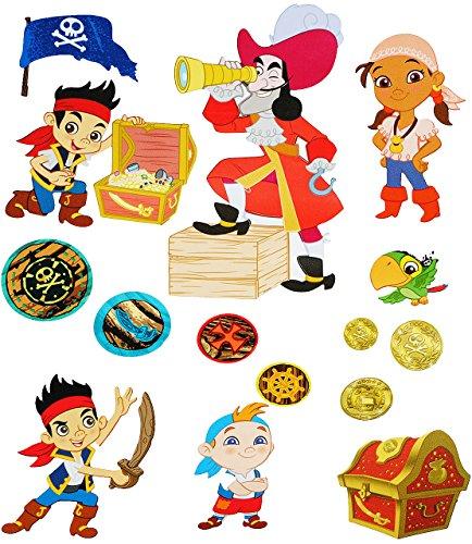 alles-meine.de GmbH 15 TLG. Set _ Wandtattoo / Sticker -  Pirat - Jake / Piraten  - Wandsticker - Aufkleber für Kinderzimmer - selbstklebend + wiederverwendbar - Piratenschiff ..