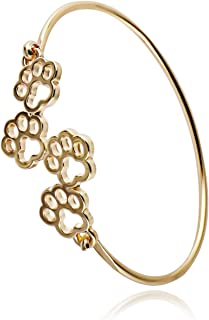 Dog and Cat Four Paw Print Animal Hook Opening Bracelet Jewelry