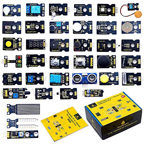 KEYESTUDIO 37 in 1 Sensor Modules Kit Programming for Arduino, Raspberry Pi Learning Project STEM Education, Electronics Components Set for Kids Teens Adults (No Controller Board)
