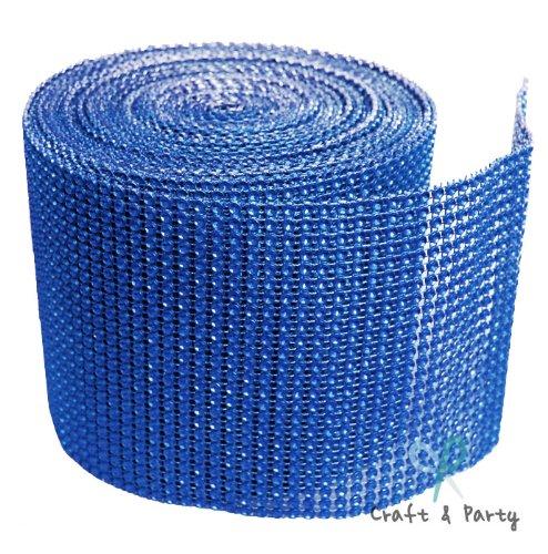 "Diamond Mesh Wrap Roll Rhinestone Crystal Ribbon 4.5"" x 10 yards (Royal Blue)"