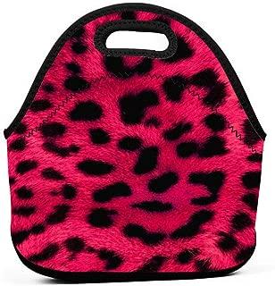 Lunch Box Cheetah Pink Leopard Print Gourmet Lunchbox Organizer for Men Women Adults, Work School Picnic Beach Lunch Holder Neoprene Handbag Reusable Drinks Holder