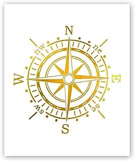 Nautical Compass Gold Foil Print, Simple Golden Sea Compass Art Poster Minimalist Typographic Room Dorm Cardstock Art Print Poster Home Decor Wall Art (8 X 10 inch, Set of 1, UNframed)