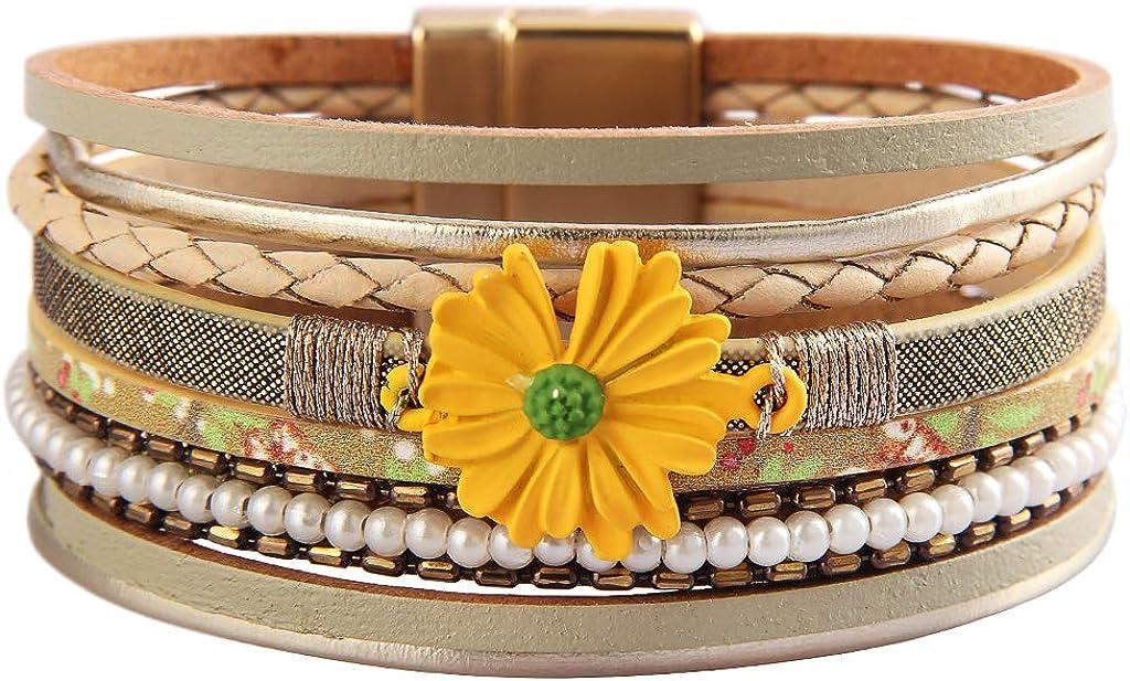 GelConnie Leather Wrap Bracelet Boho Cuff Bracelet Gold Plated Magneitc Multi Strand Bracelet Bohemian Gift for Women, Sister, Wife