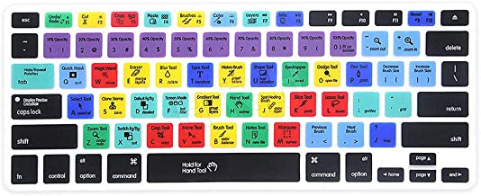 HRH PS Photoshop Shortcuts US Keyboard Skin Hot Keys PS Keyboard Cover for MacBook Air 13,Pro 13/15/17 (with or w/Out Retina Display, 2015 or Older Version)&Older iMac USA Layout