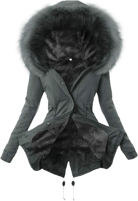 HGWXX7 Womens Overcoat Hoodies Faux Fur Hood Parka Jacket Long Sleeve Zip Up Fleece Lined Winter Coats with Pocket Gray