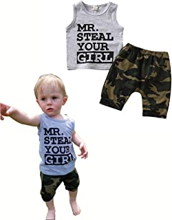 CICIXIXI Cute Toddler Infant Newborn Baby Boy Clothes Sleeveless Vest Camouflage Shorts Sets Summer Outfit