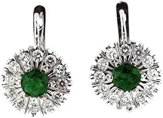 2.70 Ct White Gold Russian Style Emerald & Diamond Fashion Earrings 14 Kt