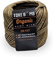 Toke Bomb 200ft Roll 100% Organic Hemp Wick Natural Lighter Spool (1mm Thickness)