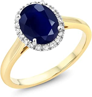 Gem Stone King 10K 2-Tone Gold Oval Blue Sapphire and Diamond Halo Engagement Ring 2.50 Ct (Available 5,6,7,8,9)