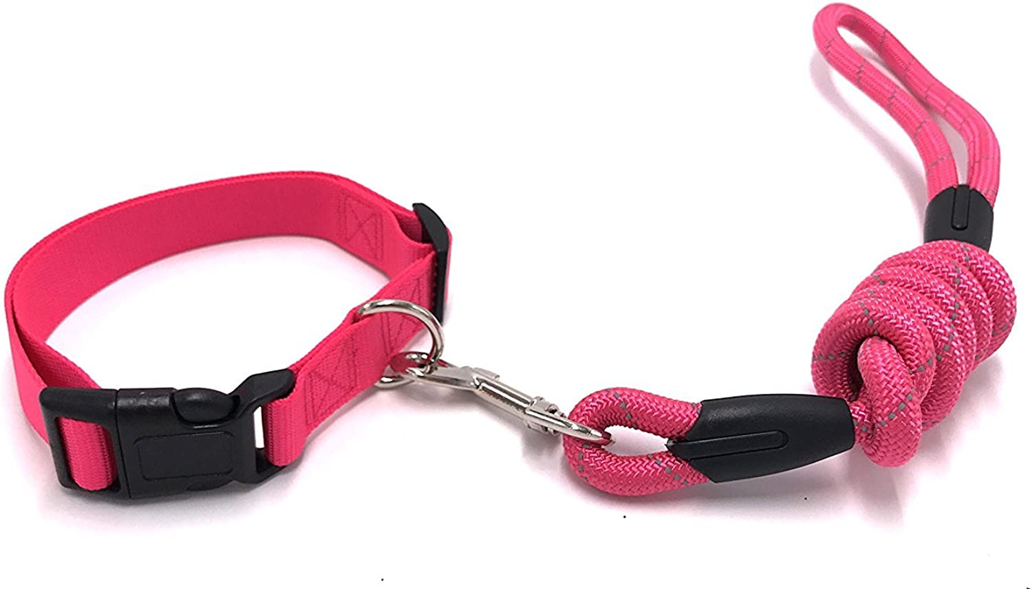 PetsCaptain Reflective Heavy Duty Round Rope Dog Leash (0.5  Diameter x 48  Long) & Reflective Dog Collar (1  Wide x Adjustable Neck Size 14.5 22 ) Set, Pink, PSCLC0546PNK