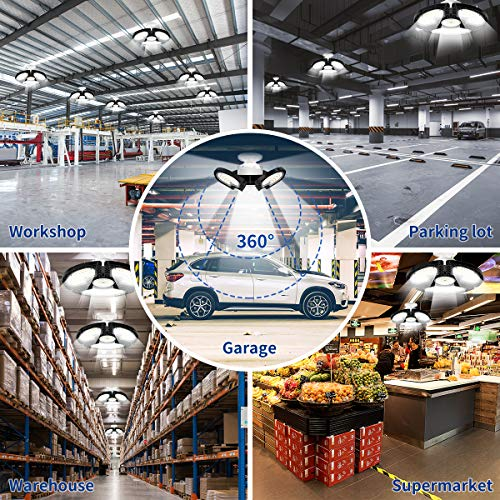 LED Garage Lights, 80W Deformable LED Garage Ceiling Lights 12000 LM CRI 80 Led Shop Lights for Garage, Garage Lights with 3 Adjustable Panels,Utility Led Garage Lighting,LED Light Bulbs for barn etc. 5