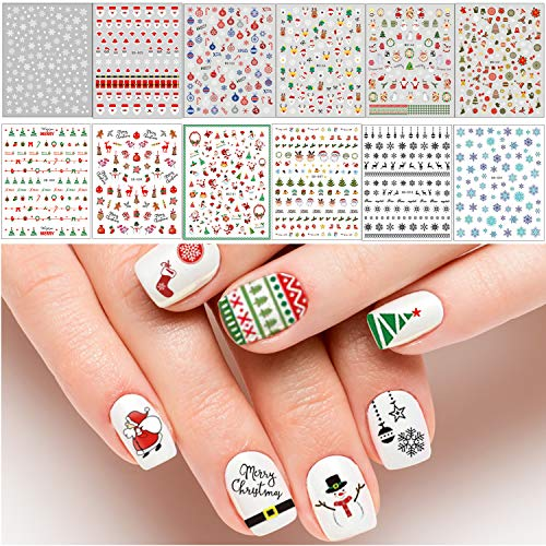 Adurself 1000+ Patterns Christmas Nail Art Decals Xmas 3D Nail Self-Adhesive Stickers Santa Claus Reindeer Snowflakes Snowmen Christmas bells for Women Girls Kids DIY Nail Design Manicure