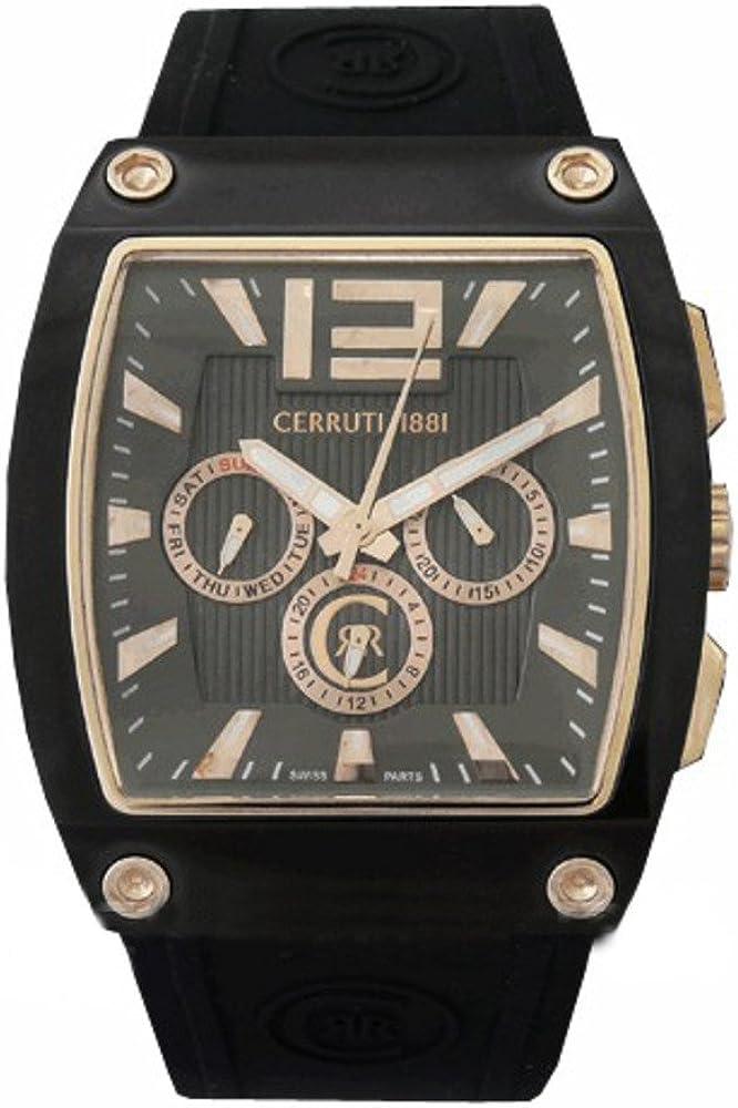 Cerruti, orologio,cronografo per uomo, cassa in acciaio inossidabile,e cinturino in silicone CRD007D224H