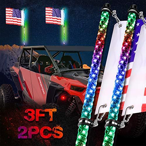 OFFROADTOWN LED Whip Lights, 2PCS 3FT RF Remote Control Spiral Lighted Whips RGB Dancing/Chasing Light Antenna LED Whips for UTV ATV RZR Off-Road Trucks Pickup 4X4 Buggy Dune