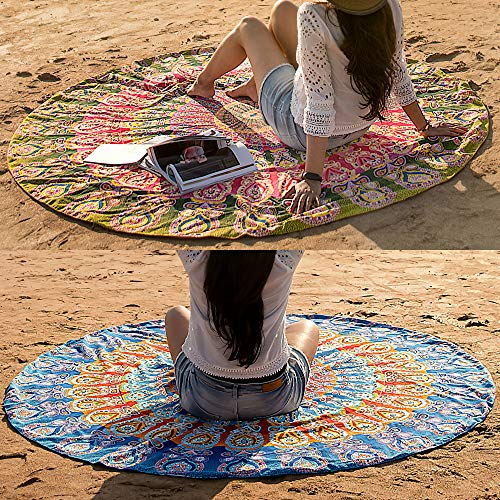 Set of 2 Round Beach Blanket or Mandala Tapestry - Bohemian or Boho Tablecloth, Hippie Beach Towel or Picnic Throw, Cotton Yoga Mat or Circle Rug for Meditation - 72 Inches Roundie, Blue and Mustard