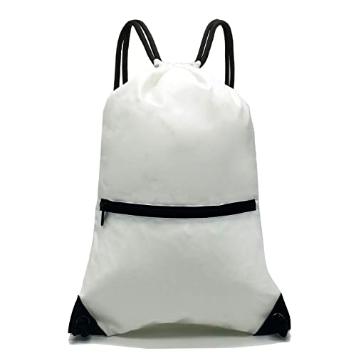 825e29a0734f HOLYLUCK Men   Women Sport Gym Sack Drawstring Backpack Bag (White