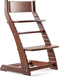 Sponsored Ad - Fornel Heartwood Dark Walnut Adjustable Wooden High Chair for Babies and Toddlers Highchair