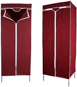 GOTOTOP Armoire en Toile à Tissu Unique Rangement Double Armoire avec Rails Suspendus Armoire de Rangement des Vêtements