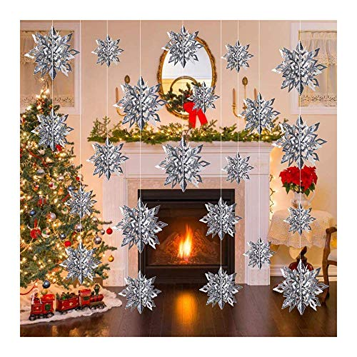 Feliciay 18 guirnaldas de invierno para decoración de copos de nieve 3D con purpurina en el país de las maravillas festivas, Año Nuevo, fiesta de decoración de hogar (plata)