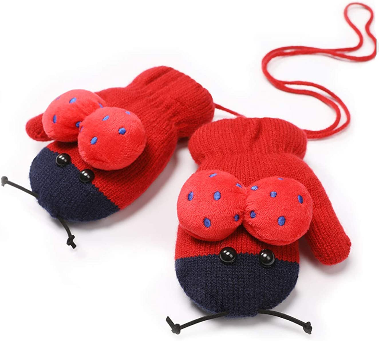 Kids Cute Ladybird Knit Mitten Gloves Plush Lined String Winter Kids Xmas Gift