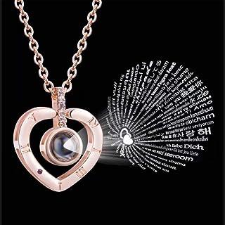 Collar Corazón Proyección Te Amo en 100 Idiomas (Plateado