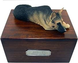 Beautiful Paulownia Large Wooden Urn with Black & Tan German Shepherd