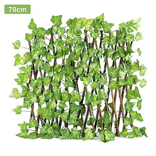 Cassiela Einziehbarer Zaun aus künstlichem Efeu, erweiterbares, langlebiges Holzgitter, Sichtschutz für Pflanzen zur Dekoration von Gartenwänden (kleine Blätter, 70 cm)