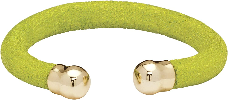 Palm Beach Jewelry Lime Green Stingray Yellow Gold Tone Cuff Bracelet 8