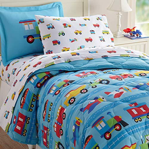 Wildkin Kids 5 Pc Twin Bed in A Bag for Boys and Girls, Microfiber Bedding Set Includes Comforter, Flat Sheet, Fitted Sheet, One Pillow Case, and One Sham, Olive Kids, (Trains, Planes, and Trucks)
