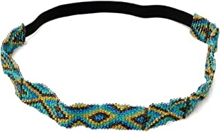 Seed Bead Tribal Native American Pattern Thick Beaded Stretchy Elastic Strap Headband Women's Fashion Hair Accessory (Diamond-Turquoise/Gold)