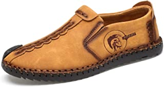 Mens Casual Leather Loafers Handmade Slip-On Comfortable Moccasins Shoes Driving Fashion US 5.5-14